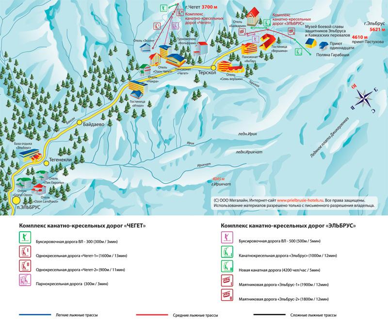 Карта поселков Приэльбрусья