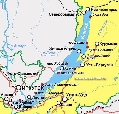 Карта туристических мест Байкала
