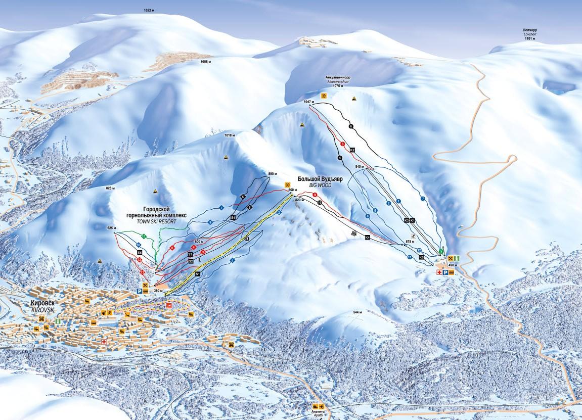Схема трасс на горнолыжных курортах Кировска