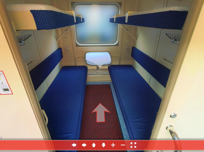 Фото купе в фирменном поезде Москва - Санкт-Петербург из 3D-тура http://3dtour.fpc.ru/tvz2deck/