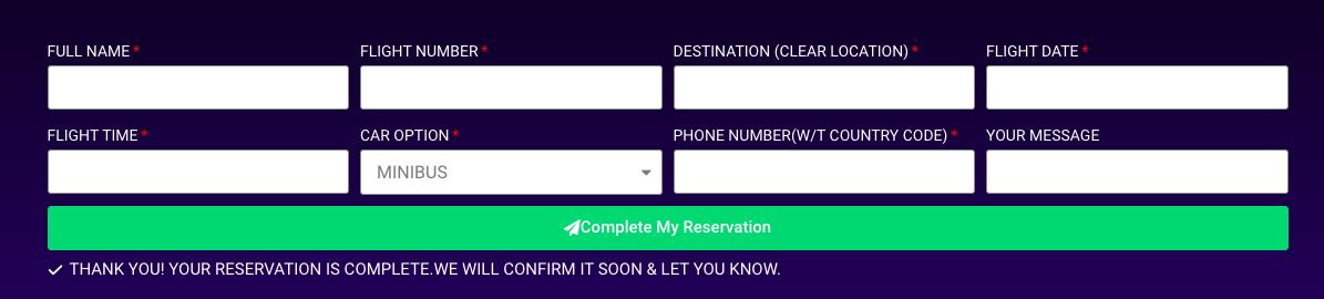 Форма заказа такси с официального сайта такси при аэропорте Анталии